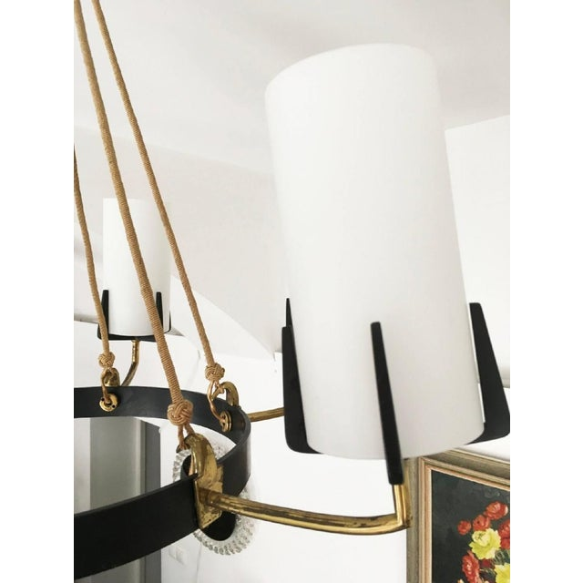 Large Mid-Century Brass & Opaline Chandelier by Rupert Nikoll For Sale - Image 9 of 11