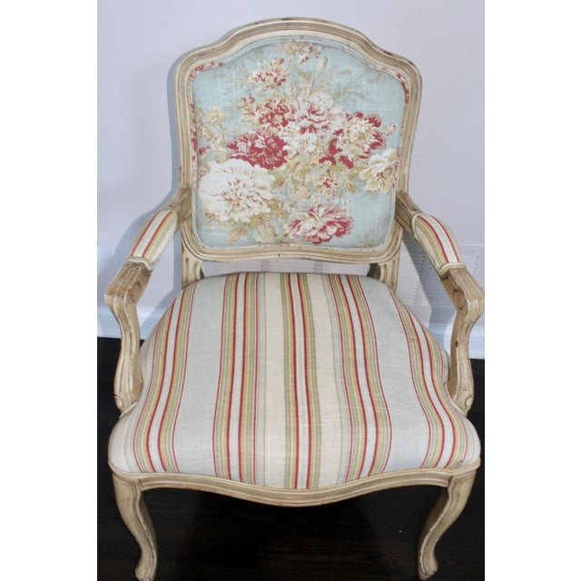 Classic frame, lovely French Country upholstery. Frame has perfect amount of distress.