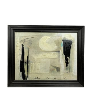 1960's Graham Harmon Black and White Abstract For Sale