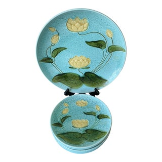 1920s Majolica Water Lilly Platters Schramberg - 7 Pieces For Sale