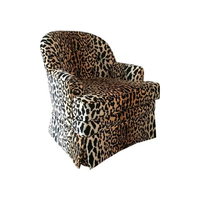 Tufted Leopard Print Velvet Club Chair - Image 1 of 9