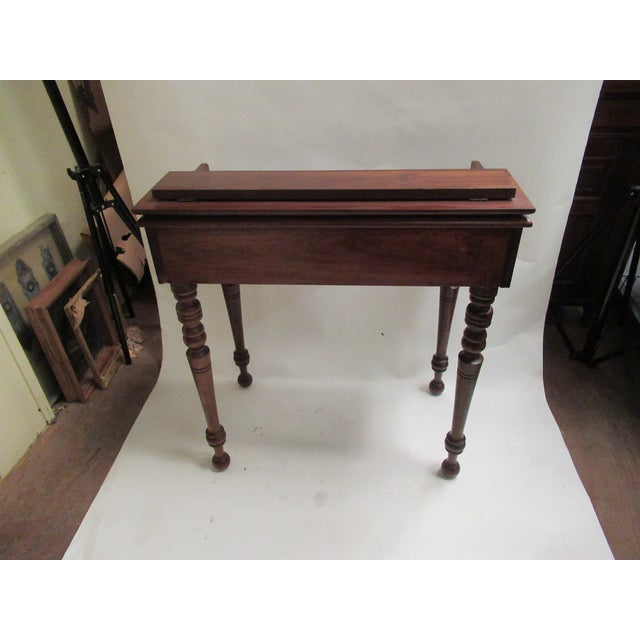 1930s Children's Spinet Flip Top Walnut Writing Desk with Caned Chair For Sale - Image 4 of 13