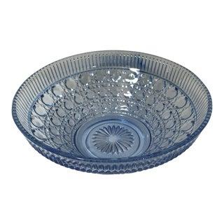 1970s Large Vintage Blue Indiana Glass Serving Bowl For Sale