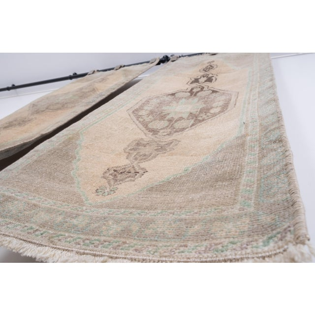 """Textile Distressed Small Turkish Oushak Rug - a Pair 19"""" X 42"""" For Sale - Image 7 of 10"""