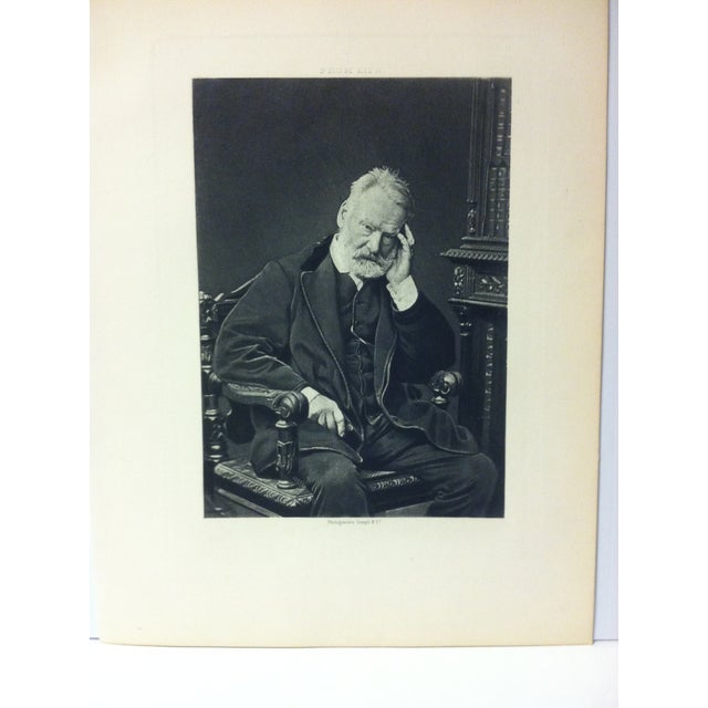 """This is an Antique Black and White Engraving on Paper that is titled """"Victor Hugo"""" from Goupil and Company. The Engraving..."""