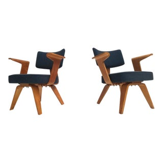 Pair of Plywood Cor Alons Hf506 Easy Chairs for Den Boer Gouda the Netherlands