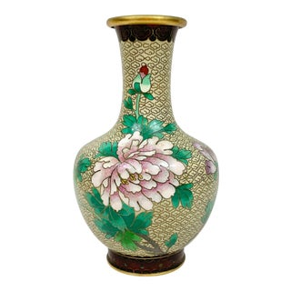Vintage Floral Cloisonne Vase For Sale
