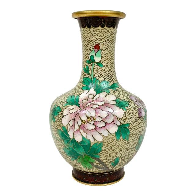 Vintage Floral Cloisonne Vase For Sale