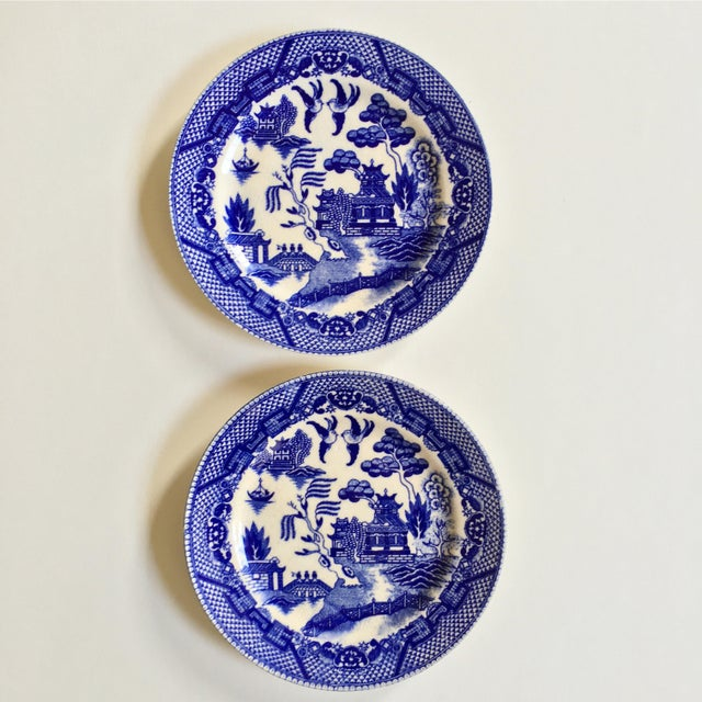 "Two beautiful antique porcelain ""Blue Willow"" patterned small plates. Made in Japan with no chips or cracks except for..."