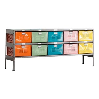 5 X 2 Locker Basket Unit in Multi-Color and Natural Steel, Custom Made to Order For Sale