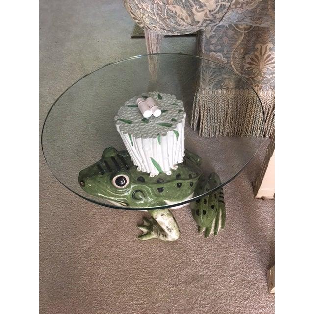Italian Italian Ceramic Glass Top Frog Table For Sale - Image 3 of 7