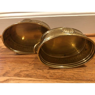Brass Cachepots With Handles and Shell Motif - a Pair Preview