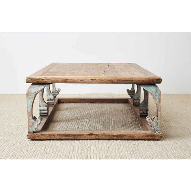 Late 20th Century Monumental Weathered Pine Coffee Cocktail Table For Sale - Image 5 of 13
