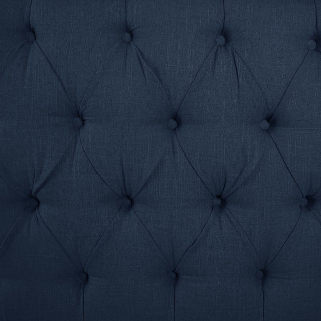 Contemporary Linen Navy Queen Nail Button Tufted Wingback Bed For Sale - Image 3 of 8
