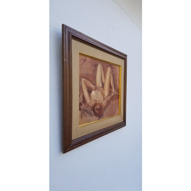 Vintage Figural Abstract of a reclining nude Female wall art hanging Painting. Signed on top left the signature is...