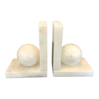 Italian White Alabaster Bookends - a Pair For Sale