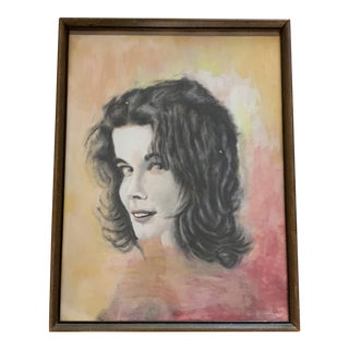 Vintage Mixed Medium Female Portrait Painting For Sale