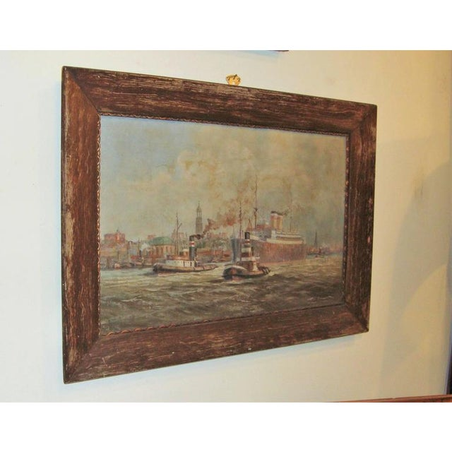 19th C. Oil Painting of Boats in a Harbor - Image 4 of 6