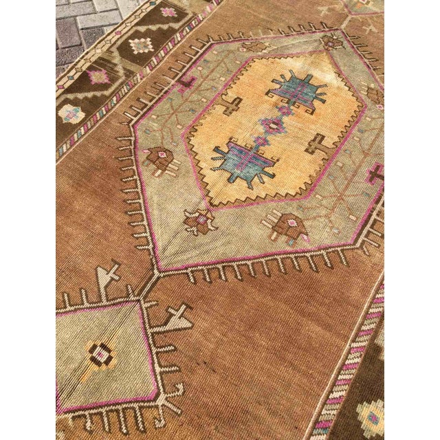 Hand Knotted Brown Turkish Rug For Sale In Raleigh - Image 6 of 12