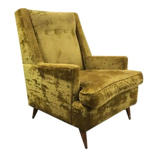 Mid Century Modern Paul McCobb Style Yellow Velvet Lounge Chair For Sale
