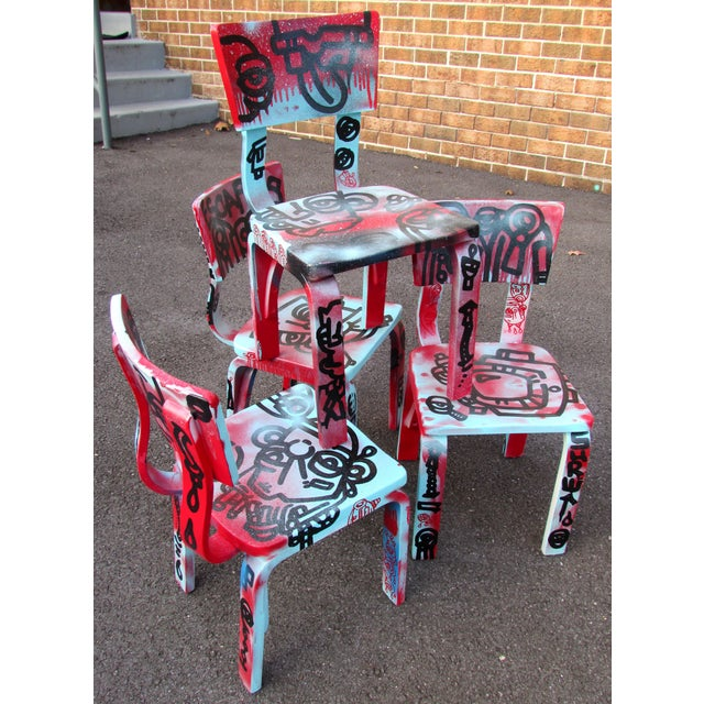 Graffiti Painted Children's Thonet Chairs - Set of 4 - Image 2 of 11