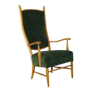 Vintage Mid Century Italian Style High Back Chair For Sale