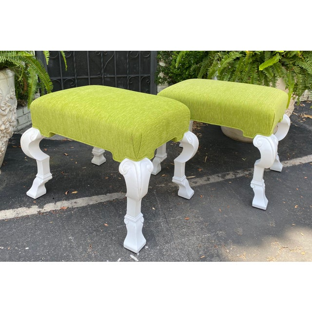 Charles Pollock Charles Pollock Hollywood Regency Chartreus Velvet Ottoman Benches - a Pair For Sale - Image 4 of 5