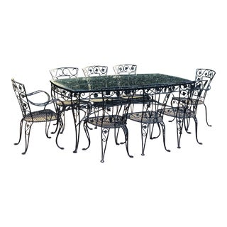 Vintage Jensen Patio Wrought Iron Glass Top Dining Set For Sale