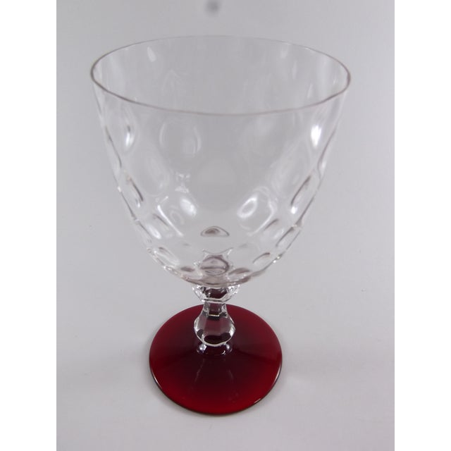 Crystal Ruby Footed Goblets - Set of 7 - Image 5 of 7