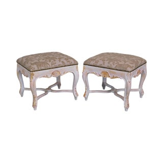 Italian Rococo Style Gilt & Painted Carved Pair Stools For Sale