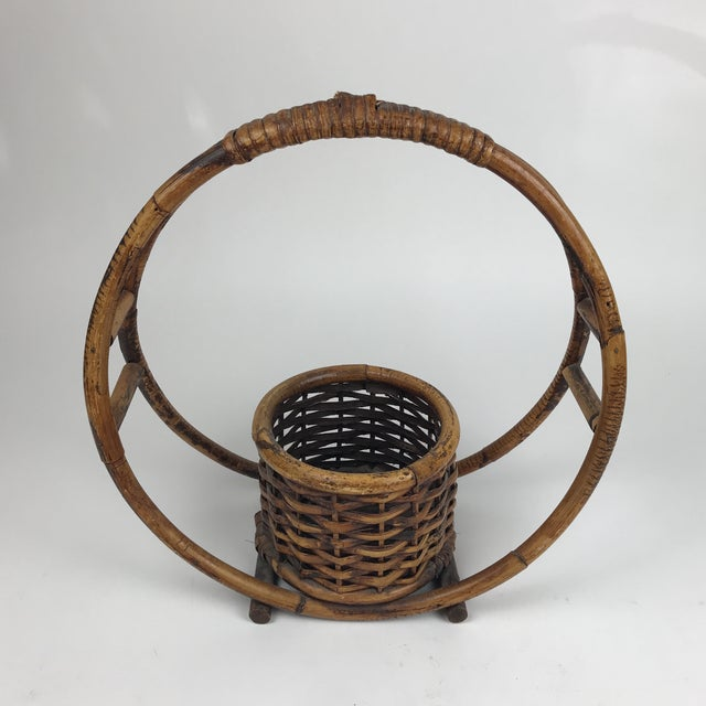 1970s Boho Chic Rattan Hanging Circle Planter For Sale - Image 4 of 8