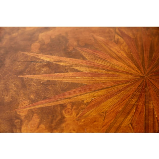 Italian Side Table With Star Marquetry Top For Sale - Image 4 of 9