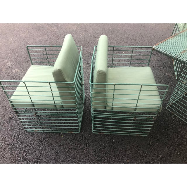 Green Rare Josef Hoffmann Style Curvilinear Perforated Outdoor Dining Set - 5 Pieces For Sale - Image 8 of 12