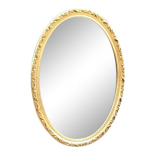 1950s Hollywood Regency Italian Gold-Frame Oval Wall Mirror For Sale