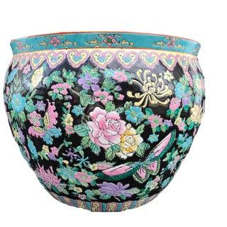 """Famille Noire Porcelain Jardinière/ Fish Bowl 14"""" W by 10.25"""" H For Sale"""
