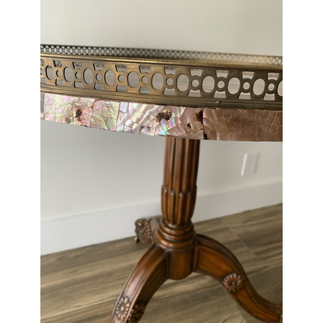 Maitland - Smith Maitland Smith Abalone Center Gallery Rail Occasional Table For Sale - Image 4 of 13