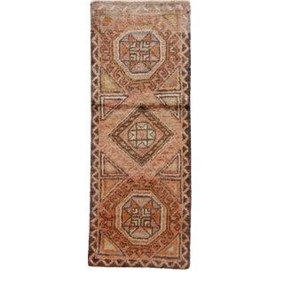 "Vintage Turkish Hand-Knotted Yastik - 1'4"" X 3'6"" For Sale"