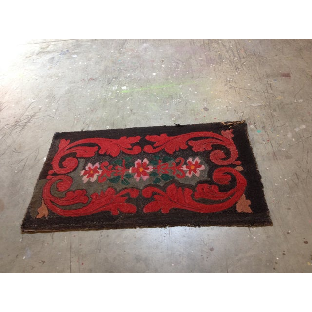 """Stitched Crewel Red & Brown Rug - 2'6"""" x 4'4"""" - Image 6 of 7"""