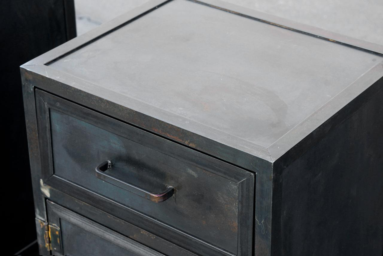 Not Yet Made   Made To Order Pair Of Custom Industrial Steel Nightstand  Cabinets By Rehab