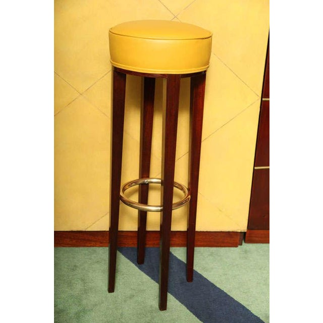 Andre Arbus. Three-piece modular Art Deco bar with two stools commisioned in 1936, mahogany wood structure with brass...