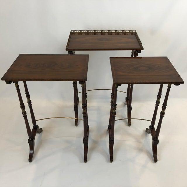 Regency Zebra Wood Nesting Tables - Set of 3 For Sale - Image 10 of 13