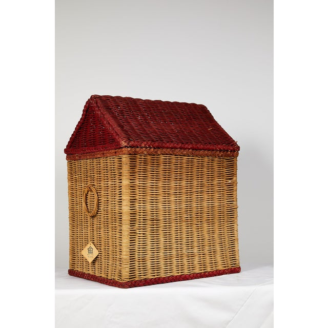 American Vintage Schoolhouse Toy Box of Wicker For Sale - Image 3 of 11