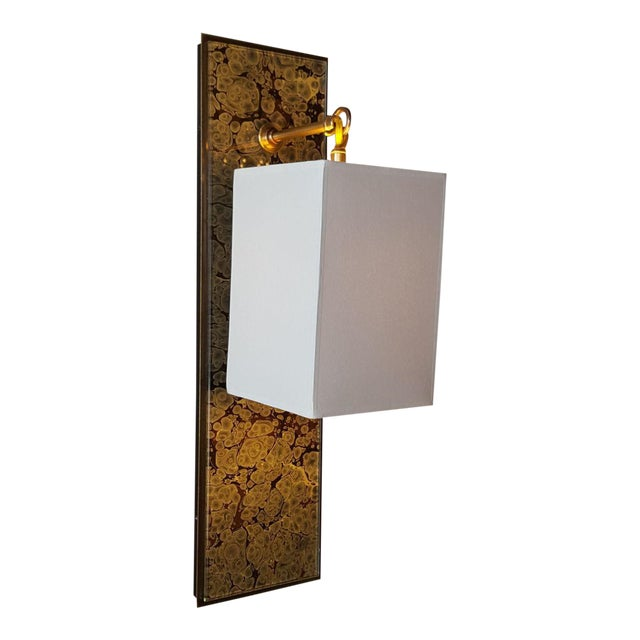 Modern Brass and Marbleized Wall Sconce V2 by Paul Marra - Image 1 of 13