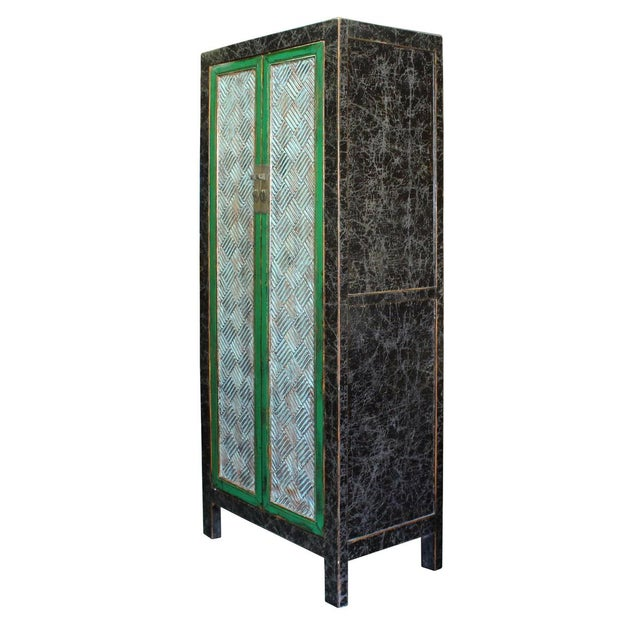 Chinese Distressed Green Blue Armoire For Sale - Image 4 of 6