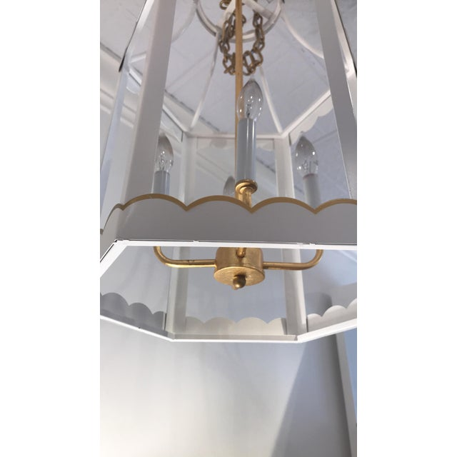 2010s Glossy White and Gold Lantern by Owd For Sale - Image 5 of 6