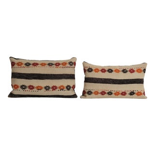 Organic Turkish Kilim Pillow Cover - Set of Two For Sale