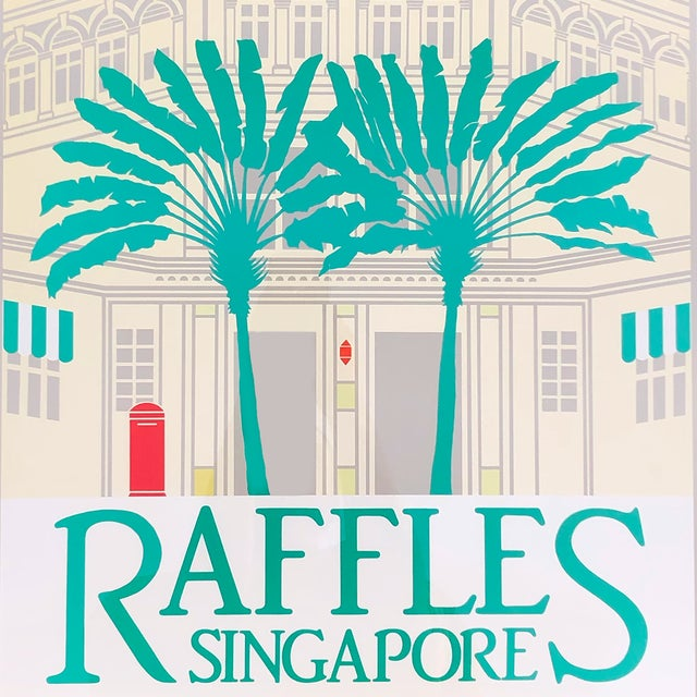 Perry King 1980s Perry King Raffles Singapore Silkscreen Poster, Framed For Sale - Image 4 of 5