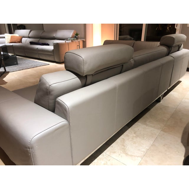 Roche Bobois Modern Roche Bobois Gray Leather Sectional Sofa For Sale - Image 4 of 11