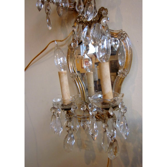 1920s French Louis XV Style Gilt Mirror and Glass Framed Sconces - a Pair For Sale In Chicago - Image 6 of 13