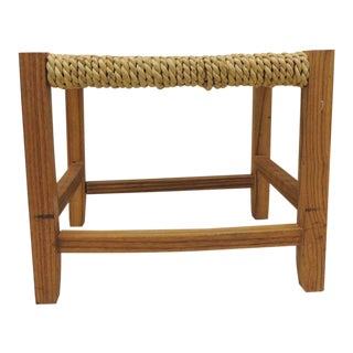 Vintage Rectangular Shaker-Style Foot Stool With Seagrass Woven Seat For Sale